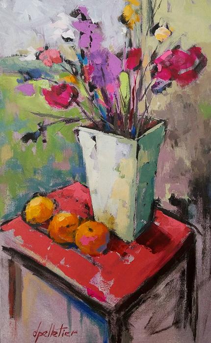 Oranges et roses 21x13